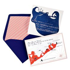 Brides.com: Wedding Style: Preppy Nautical. Happy tidings.   Letterpress map and save-the-date with lined envelope, from $2,675 for 150, Mr. Boddington's Studio.