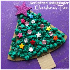 Scrunched Tissue Paper Trees make a great texture to decorate!