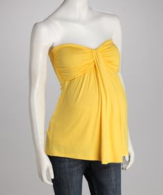 Take a look at this Yellow Maternity Strapless Top by Leone Maternity on #zulily today!