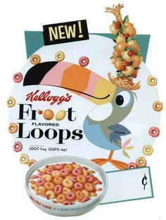I love the old cereal packaging. This Toucan Sam is SO much better than the current one.
