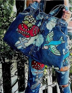 Love this recycled denim tattoo bag!!!