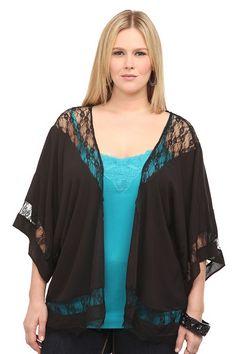Black Lace Inset Gauze Top   Polished