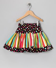 With its playful combination of patterns, soft cotton construction and comfy elastic waistband, this twirly handmade skirt is totally sweet in every way.100% cottonMachine wash; tumble dryMade in the USA