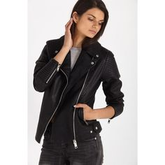 ella pu biker jacket (8955 ALL) via Polyvore featuring outerwear, jackets, polyurethane jacket, moto jacket, motorcycle jacket, pu biker jacket and pu jacket