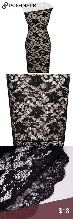 Black Floral Lace Cocktail Party Dress Polyester 65% Cotton 30%. Spandex 5% - Vintage black lace with beige/gold contrast.  Sleeveless, Knee-Length.  Great for work or after work cocktail party and date nights!  It's form fitting and really shows off curves. I love this dress and would keep it, if I could loose the extra pounds! Only wore it twice so looking for a good home! Dresses Midi