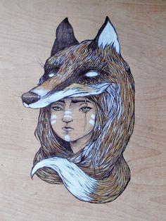 Fox Girl by luiza kwiatkowska, via Behance Tattoo