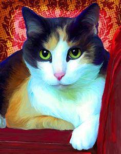 """Patches"" cat portrait by Rebecca Collins"