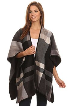 LL Womens Black Beige Designer Inspired Reversible Blanket Shawl Poncho Cape -- Click on the image for additional details.
