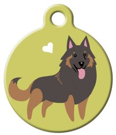 Dog Tag Art - Tervuren design is one of Lili Chin's illustrations. This Belgium dog does look a lot like a Sheperd dog. The dog is on an olive-green background with a floating white heart. The design