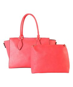 Take a look at this Diophy Coral Winged Satchel & Cosmetic Bag today!