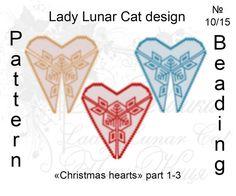 #LadyLunarCat #peyote #pattern Triangle Peyote pattern Christmas heart  1-3 by…