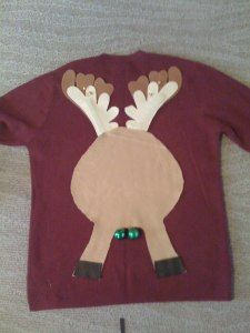 A great idea for an ugly sweater party... reindeer jingle balls. Too funny, but I think it needs a tail.