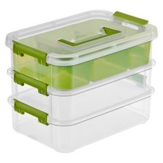 Sterilite® Stack & Carry Tray Organizer Storage Tote 3 Pc. - Transparent and Intense Jade Green