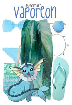 Pokemon Beach: Vaporeon by freezespell on Polyvore featuring polyvore fashion style Accessorize Marysia Swim Havaianas Bling Jewelry Wildfox clothing