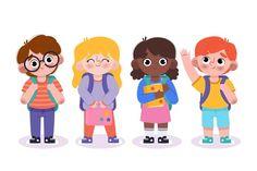 Niños dibujados a mano de regreso a la e... | Free Vector #Freepik #freevector #escuela #libro #mano #ninos School Equipment, School Chalkboard, School Icon, Cartoon Boy, Special Kids, School Logo, Back To School Sales, Cute Illustration, Kids Education