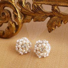 "Pearl Flower Post Earrings / Wedding Jewelry / Ivory Pearls, Vintage Rhinestones /  Floral Lace / ""Matilda"". $89.00, via Etsy."