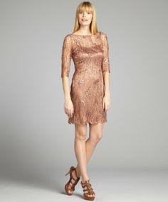 124$$ - bluefly - Kay Unger copper webbed lace sequin embellished dress