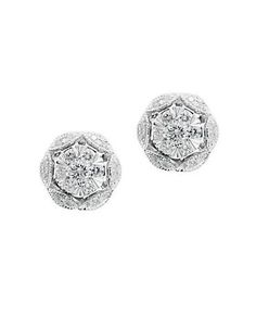 Effy - 14K White Gold Diamond Flower Earrings - 0.34 twt. SKU ID: 210-2224