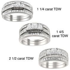 Montebello 14k Gold /4 to 2 /2ct TDW Diamond 3-piece Bridal Ring Set (H-I I1-I2) (.25ct - Size 4.5) Women's