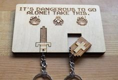 "#TLoZ Zelda Key Holder - ""It's dangerous to go alone! Take this."" It's a unique way to hang your keys, and who doesn't love Link?"