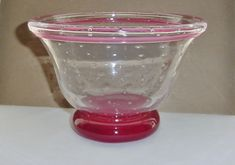 Wonderful SIGNED Dated FOOTED Art Glass BOWL or VASE Bubble PATTERNS Rose Hues