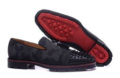 dc88f1be7ae5 Christian Louboutin Rossini Flat Camouoflage Black Leather Spike Men   ChristianLouboutin Spike Shoes