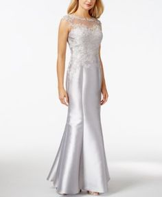JS Collection Illusion Brocade Sequin Column Gown