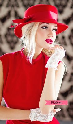 sexy in red | lady in red | take my breath away | The one I like to meet | sexy blonde in red dress and hat with fingerless white lace gloves |