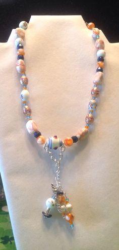 CoastGuard pendant and beaded necklace - pinned by pin4etsy.com