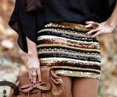 Sequin skirt with a black top. Cute dressy Mizzou outfit! SEC :)