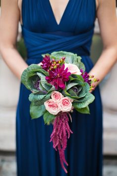 Maroon Bridesmaid Bouquets with Green Kale - KALE as an alternative to fill bouquets