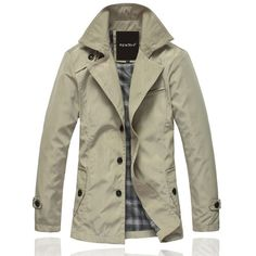 Mens Casual Trench Coat Mac Single Breasted Slim Charm Jacket