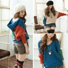 Korean Women Knitted Sweater Contrast Color Batwing Sleeve Pullover Sweater