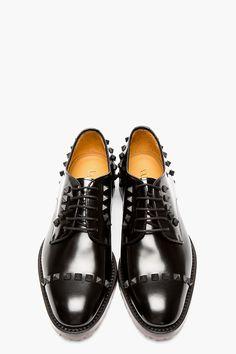 VALENTINO Black Leather RUBBER STUD derbys
