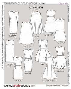 Fashion Design Drawing silhouettes of dresses. I think my favorite is sheath. Never would have known the name without this diagram. Fashion Terminology, Fashion Terms, Dress Patterns, Sewing Patterns, What Is Fashion, Fashion Dictionary, Fashion Vocabulary, Illustration Mode, Moda Vintage