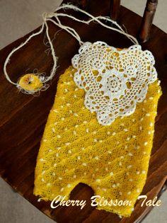 Newborn romper and tieback set in yellowcream by CherryBlossomTale