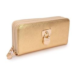 Michael Kors Hamilton Continental Lock Large Gold Wallets Hot Sale For People With High Quality And Fast Delivery Here. #fashion