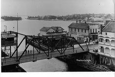 Early 1900's Bridge St swing bridge Charlevoix Mi. Charlevoix Michigan, Lake Huron, Northern Michigan, Historical Photos, Bridge, Cottage, Memories, God, History