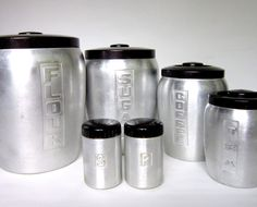 1960s Aluminum Canister set with matching Salt & Pepper Shakers
