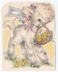 Vintage Greeting Card Easter Cute Lamb Basket Chicks Rust Craft Die-Cut 1940s