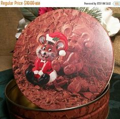Christmas Candy Box Mouse in Santa Suit Sitting in Chocolate