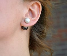 360 Front and Back Stud Earrings in Stardust Sterling Silver Double Sided Posts with Swarovski Black Green crystal Pearls Eye catching studs by Wired2BDesired on Etsy