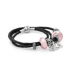 Faith, Love & Hope Leather Bracelet   PANDORA eSTORE
