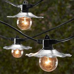 Commercial Restaurant Beer Garden Light String - Galvanized Shades