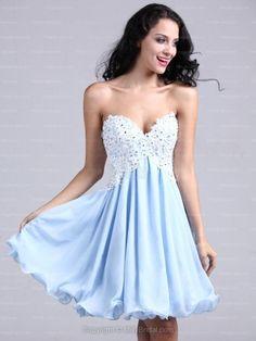 A-line Sweetheart Chiffon Short/Mini Light Sky Blue Appliques Homecoming Dress at Millybridal.com