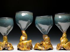 from gnarled roots series, goblets $75.00 each  -sold- Pop Up Art, Ceramic Artists, Art Market, Alcoholic Drinks, Sculptures, Earth, Ceramics, Crystals