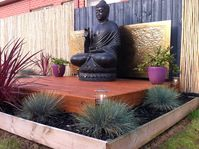 Buddha Decking Feature. Landscaper Pakenham Australia Ground Up Garden Renovators www.gardenrenovators.com.au Concrete Retaining Walls, Buddha Garden, Deck With Pergola, Decking, Melbourne, Zen, Australia, Landscape, Building