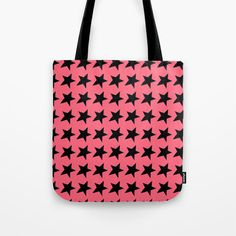 Black Stars on Peachy Melon Tote Bag
