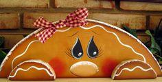 Gingerbread Wood Shelf Sitter by PaintingByEileen on Etsy, $15.00