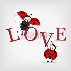 two happy ladybugs holding big letters LOVE photo